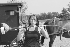 Shari, the freakin' weed-whacker, and some Amish friends . . .