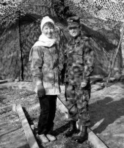 Laurel's mom Patricia Bernier (white scarf) visiting her daughter in Korea.